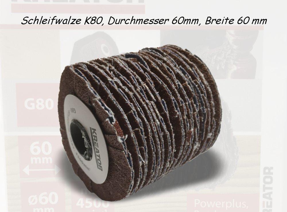 Schleifwalze K80, Durchmesser 60mm, Breite 60 mm