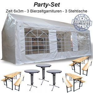Zelt Festzelt Bierzelt PVC Partyzelt Bierzeltgarnituren Stehtischmieten