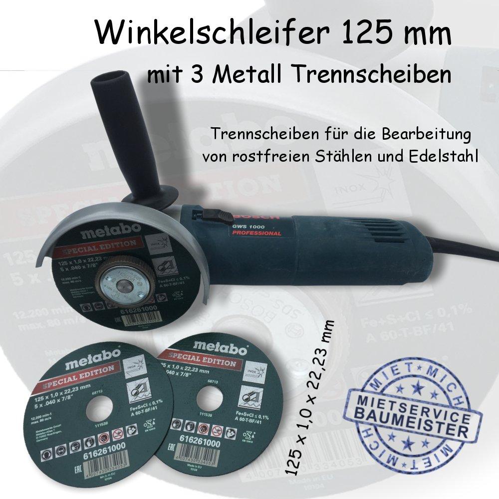 Winkelschleifer 125 mm mit 3 Metall Trennscheiben mieten